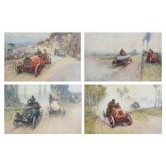 Set of 4 Original Vintage Motor Racing Prints, circa 1900
