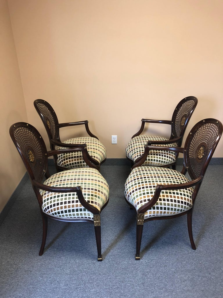 Set of 4 Oval Caned Back Regency Style Arm or Dining Chairs with Gilded Details For Sale 5