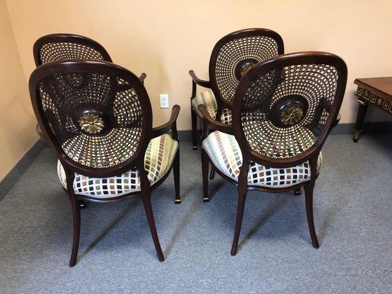 Set of 4 Oval Caned Back Regency Style Arm or Dining Chairs with Gilded Details For Sale 6