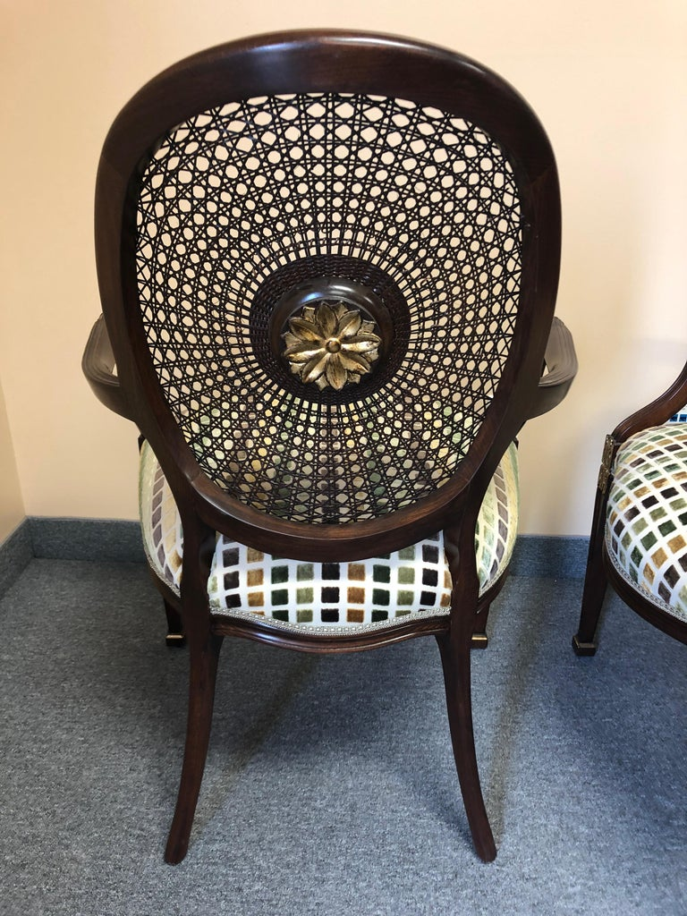 Set of 4 Oval Caned Back Regency Style Arm or Dining Chairs with Gilded Details In Excellent Condition For Sale In Hopewell, NJ