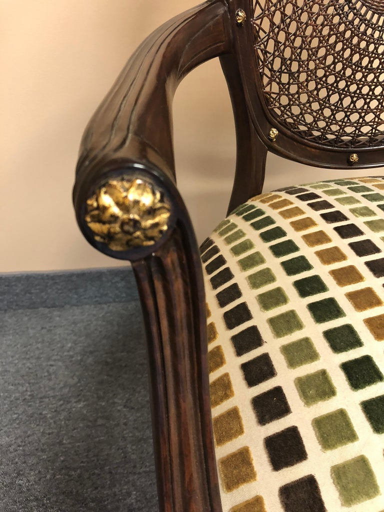 Set of 4 Oval Caned Back Regency Style Arm or Dining Chairs with Gilded Details For Sale 1