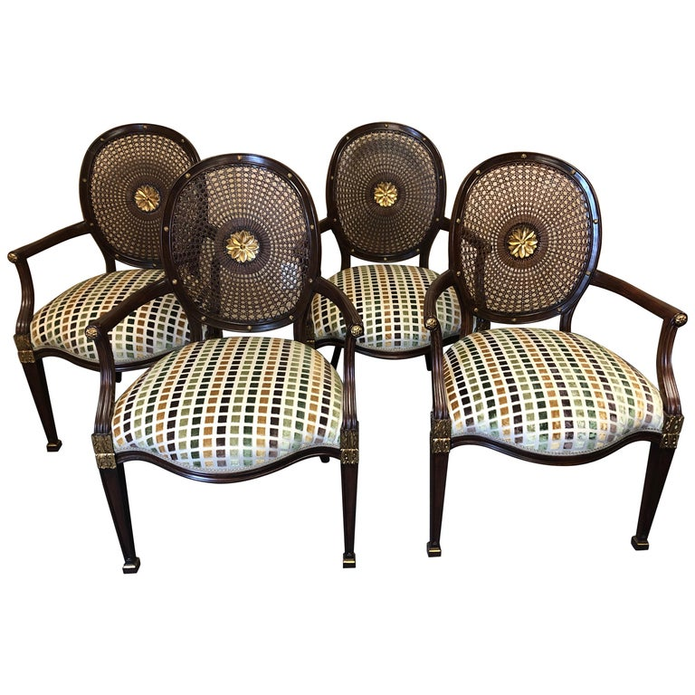 Set of 4 Oval Caned Back Regency Style Arm or Dining Chairs with Gilded Details For Sale
