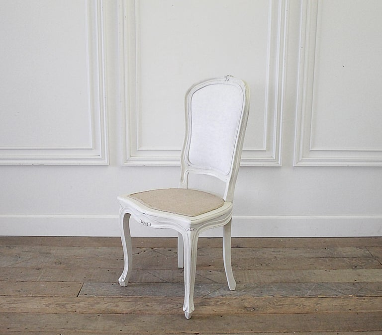 Set of 4 Painted and Upholstered Linen Louis XV Style Dining Chairs For Sale 5