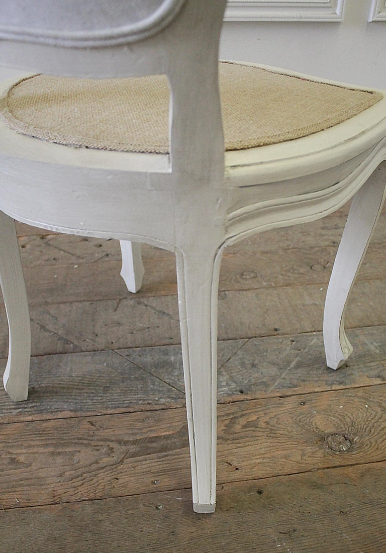 Set of 4 Painted and Upholstered Linen Louis XV Style Dining Chairs For Sale 8