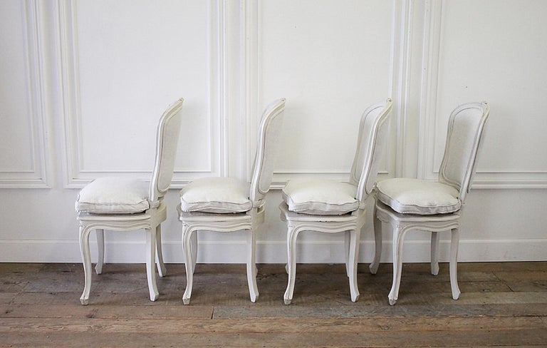 European Set of 4 Painted and Upholstered Linen Louis XV Style Dining Chairs For Sale