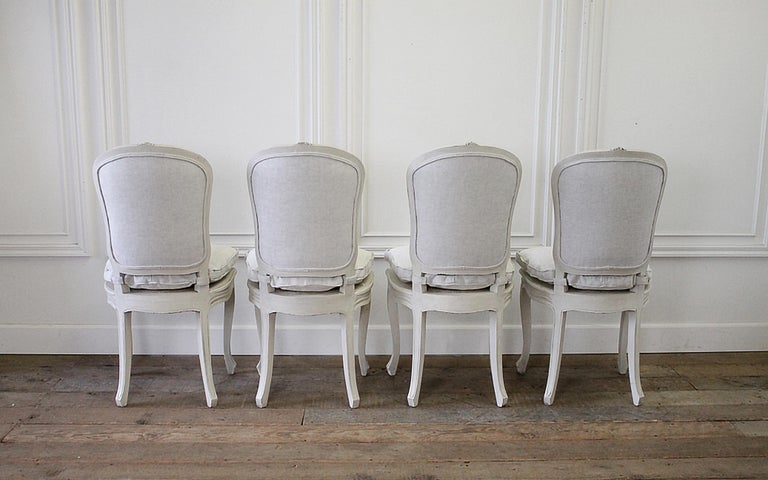 Set of 4 Painted and Upholstered Linen Louis XV Style Dining Chairs In Good Condition For Sale In Brea, CA