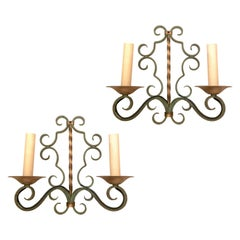 Set of 4 Painted Iron Sconces, Sold Per Pair