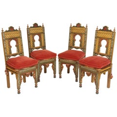 Set of 4 Painted Middle Eastern Side Chairs