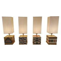 Set of 4 Painted Stone Table Lamps
