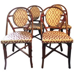 Set of 4 Palecek Rattan French Bistro Chairs, Red and White