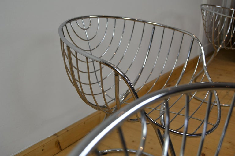 Set of 4 Pan Am Armchairs, Chrome, 1960s For Sale 13