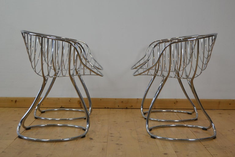 Central American Set of 4 Pan Am Armchairs, Chrome, 1960s For Sale