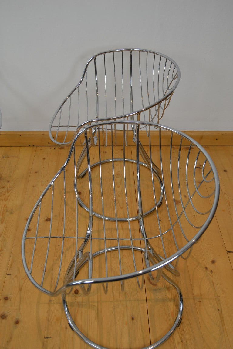 20th Century Set of 4 Pan Am Armchairs, Chrome, 1960s For Sale
