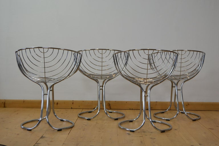 Metal Set of 4 Pan Am Armchairs, Chrome, 1960s For Sale