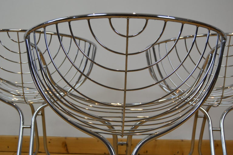 Set of 4 Pan Am Armchairs, Chrome, 1960s For Sale 1