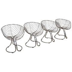 Set of 4 Pan Am Armchairs, Chrome Chairs, 1960s