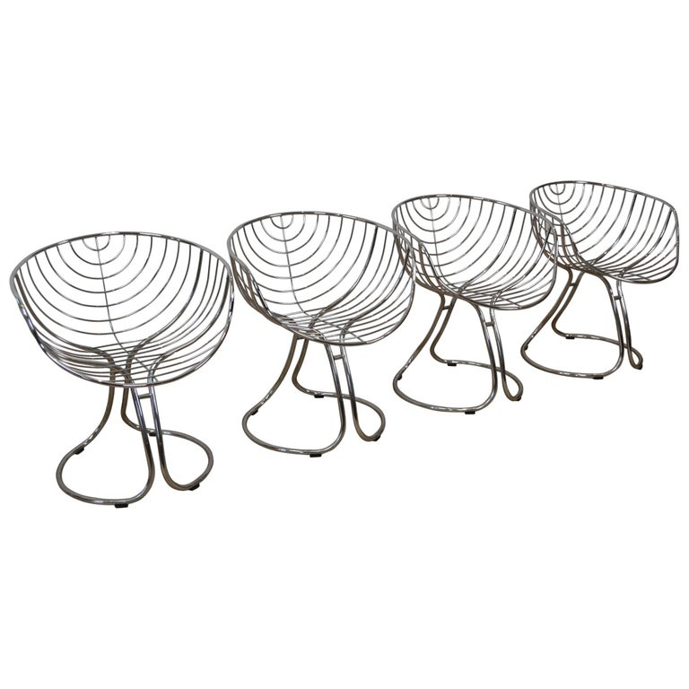 Set of 4 Pan Am Armchairs, Chrome, 1960s For Sale