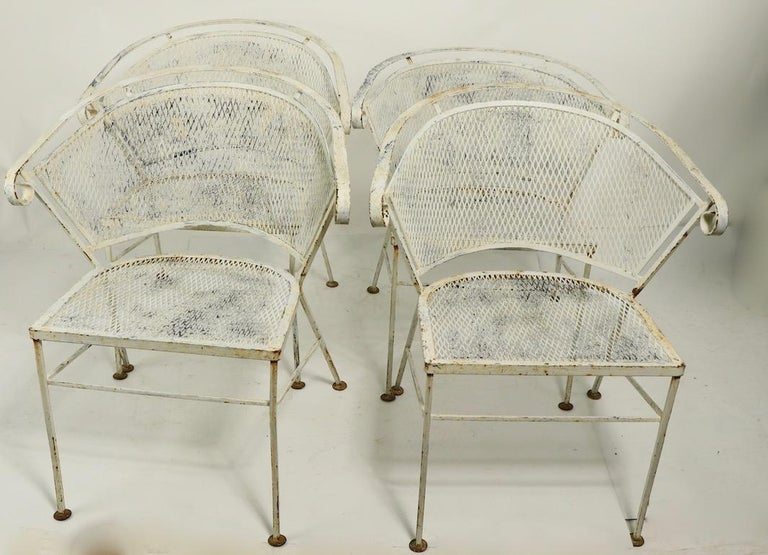 Set of 4 Patio Garden Dining Chairs Attributed to Salterini For Sale 4