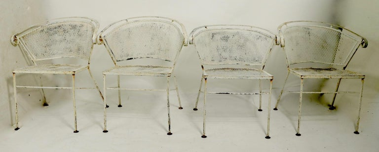 Mid-Century Modern Set of 4 Patio Garden Dining Chairs Attributed to Salterini For Sale