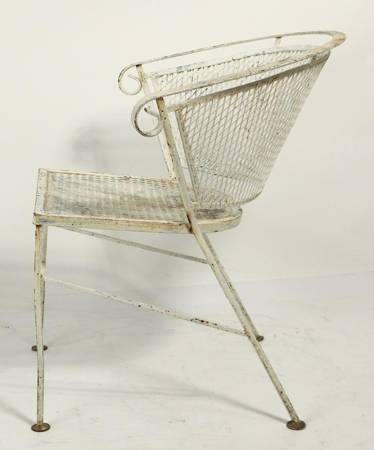 Set of 4 Patio Garden Dining Chairs Attributed to Salterini In Good Condition For Sale In New York, NY