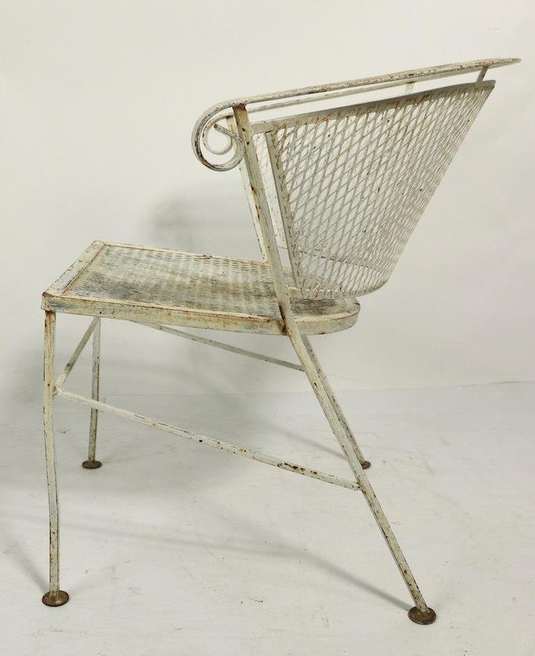 20th Century Set of 4 Patio Garden Dining Chairs Attributed to Salterini For Sale