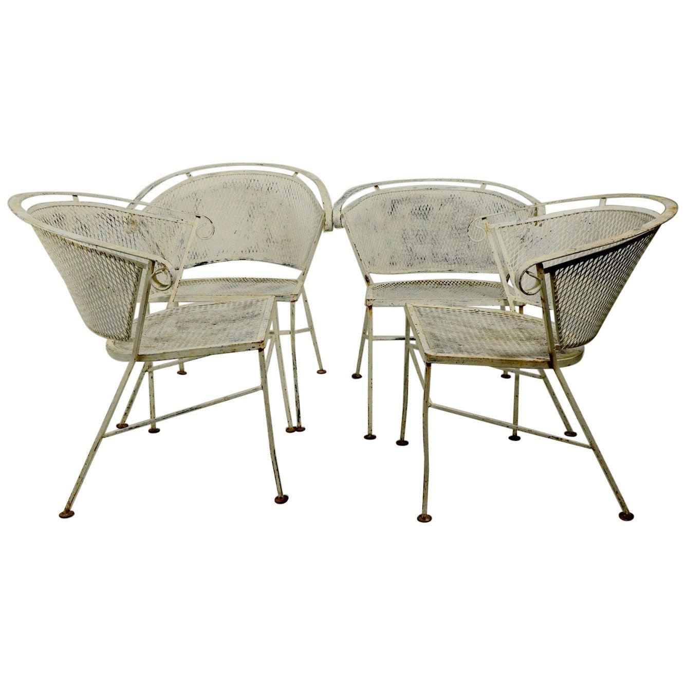 Set of 4 Patio Garden Dining Chairs Attributed to Salterini
