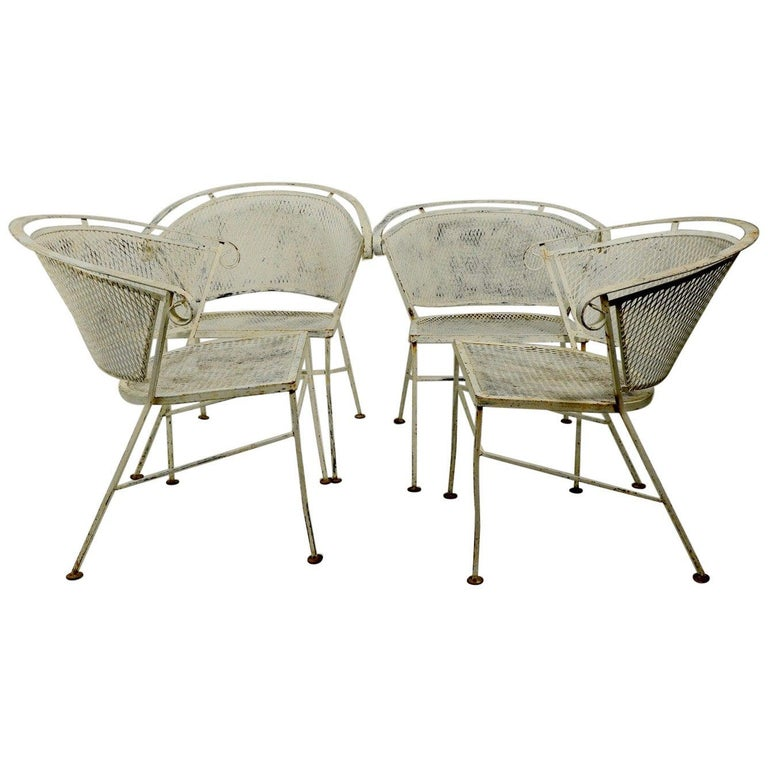 Set of 4 Patio Garden Dining Chairs Attributed to Salterini For Sale