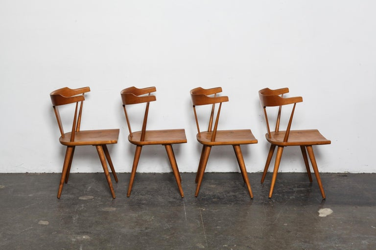 Mid-Century Modern Set of 4 Paul McCobb Planner Group Series Spindle Back Dining Chairs For Sale