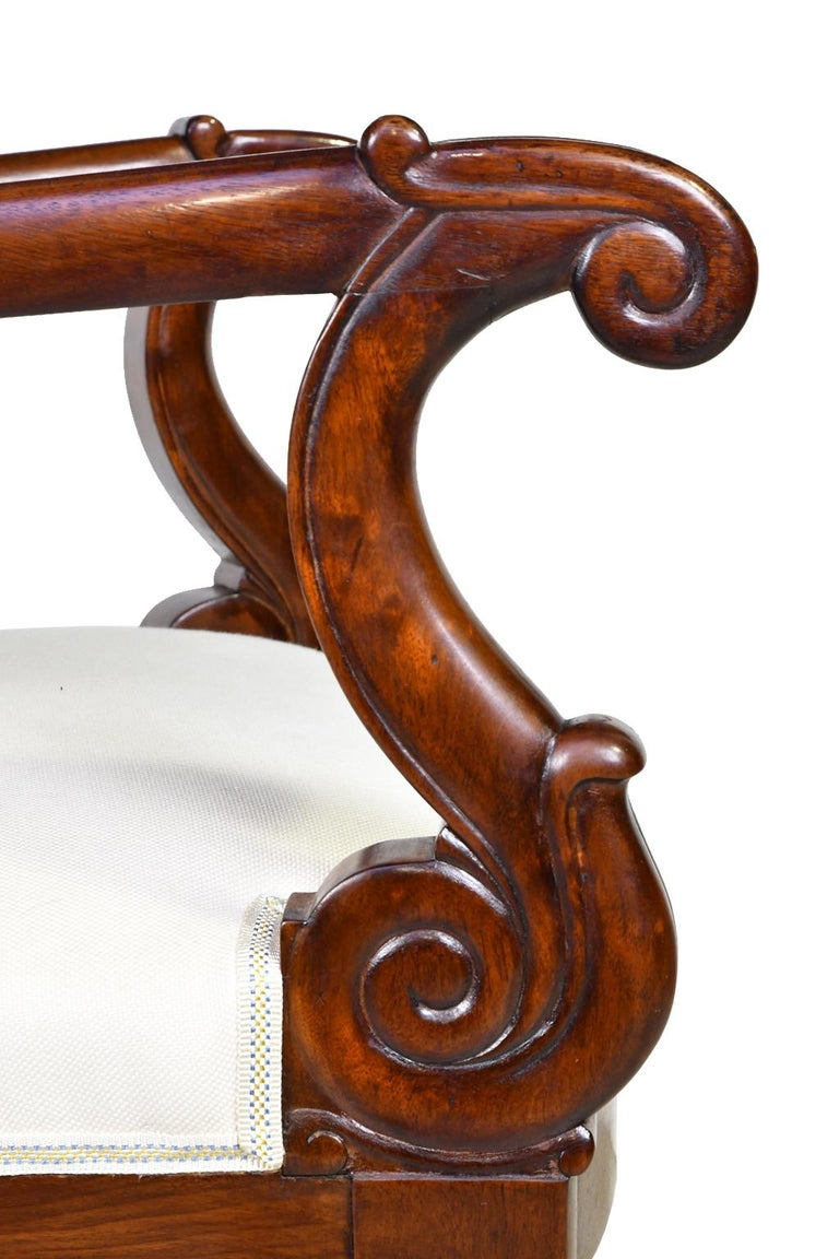 Set of Four French Charles X Armchairs in Mahogany with Upholstery, circa 1825 For Sale 5