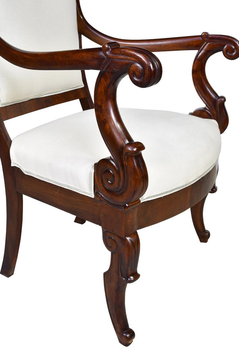 Set of Four French Charles X Armchairs in Mahogany with Upholstery, circa 1825 For Sale 8