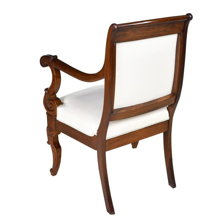 Set of Four French Charles X Armchairs in Mahogany with Upholstery, circa 1825 In Good Condition For Sale In Miami, FL