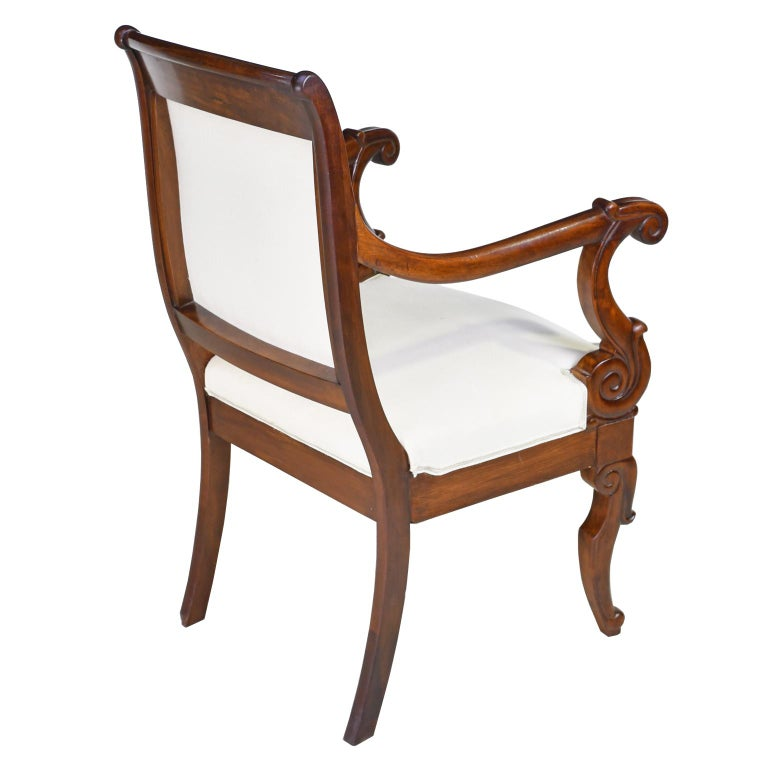 Set of Four French Charles X Armchairs in Mahogany with Upholstery, circa 1825 For Sale 1
