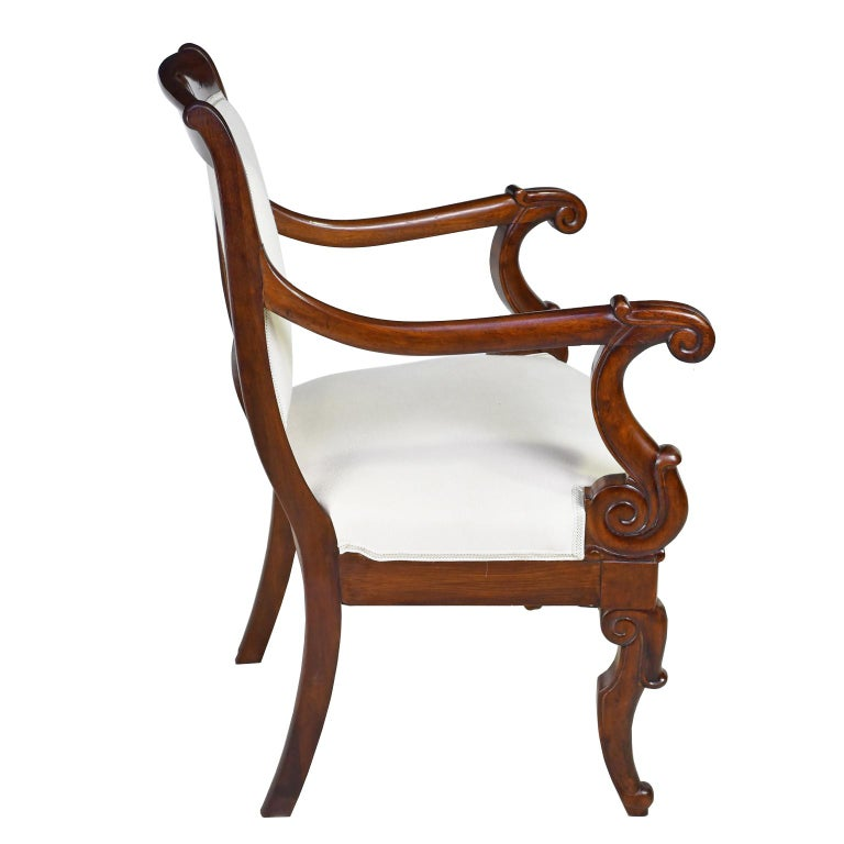 Set of Four French Charles X Armchairs in Mahogany with Upholstery, circa 1825 For Sale 2