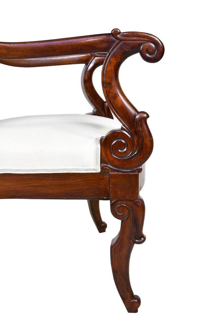 Set of Four French Charles X Armchairs in Mahogany with Upholstery, circa 1825 For Sale 4