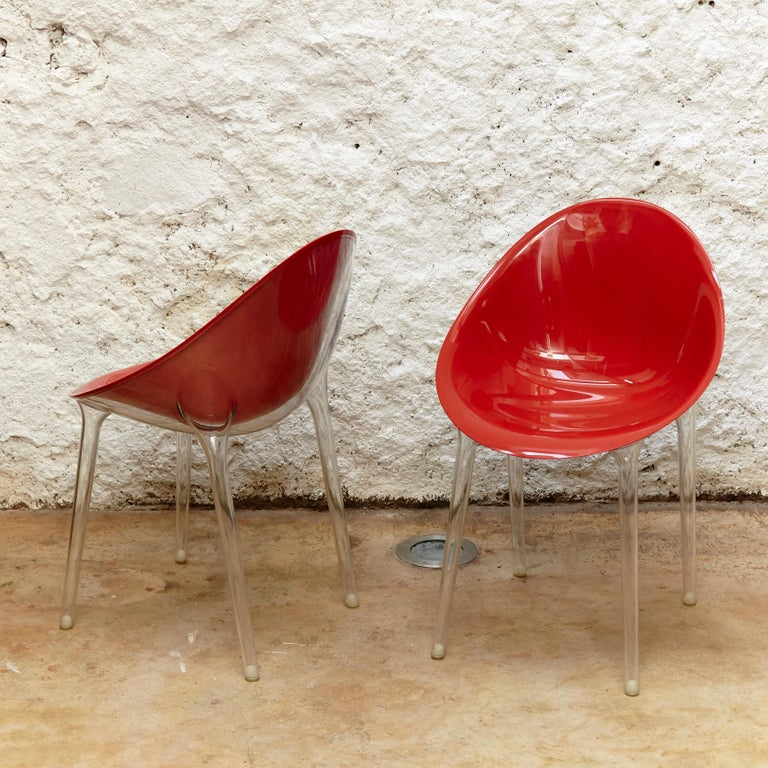 Modern Set of 4 Philippe Starck Impossible Chair Red by Kartell, circa 2008 For Sale