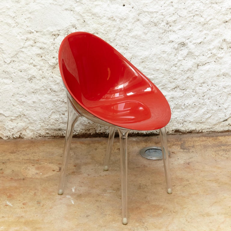 Italian Set of 4 Philippe Starck Impossible Chair Red by Kartell, circa 2008 For Sale