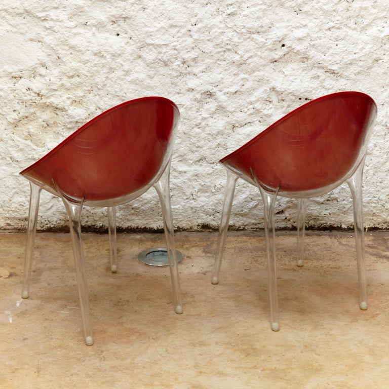 Contemporary Set of 4 Philippe Starck Impossible Chair Red by Kartell, circa 2008 For Sale