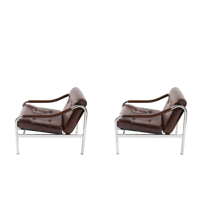 Chrome and leather armchairs, made in the 1970s by Pieff. Super stylish, four available, can be sold in a set, or in a pair.   Price shown is per pair.  10kg per chair.