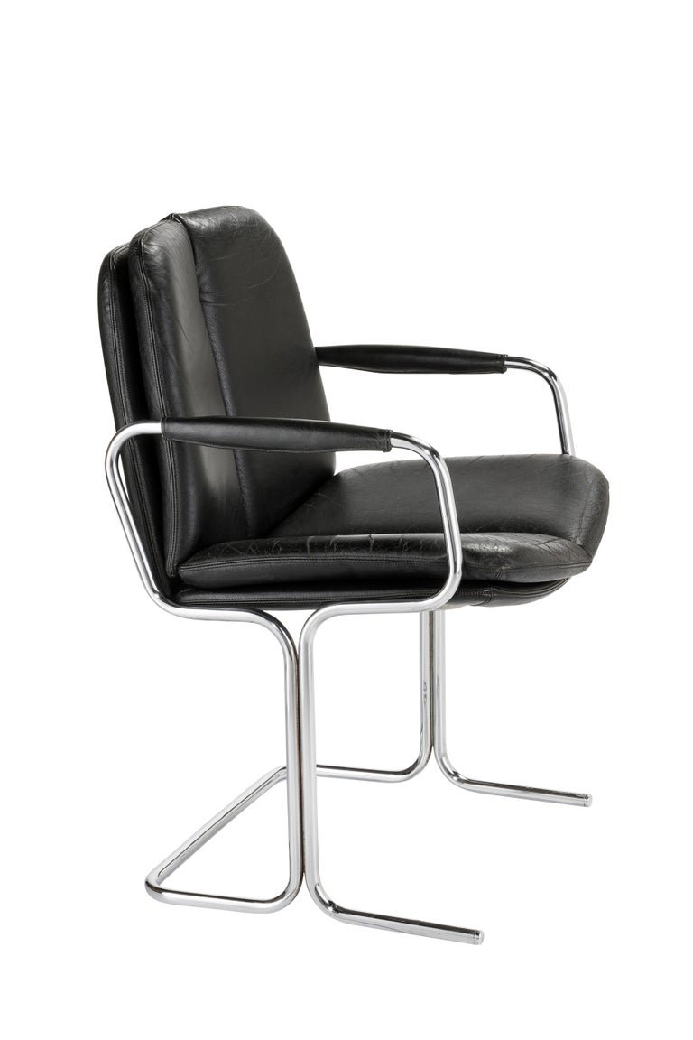 Modern Set of 4 Pieff 'Eleganza' Chrome and Leather Chairs by Tim Bates for Pieff & Co. For Sale