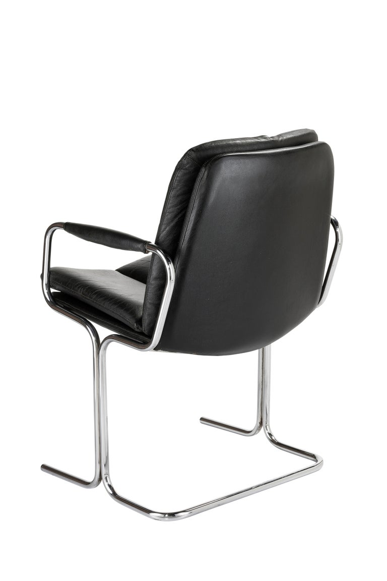 British Set of 4 Pieff 'Eleganza' Chrome and Leather Chairs by Tim Bates for Pieff & Co. For Sale