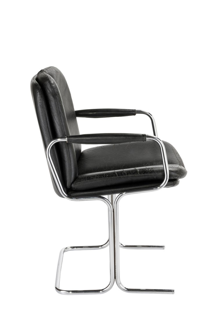 Set of 4 Pieff 'Eleganza' Chrome and Leather Chairs by Tim Bates for Pieff & Co. For Sale 1