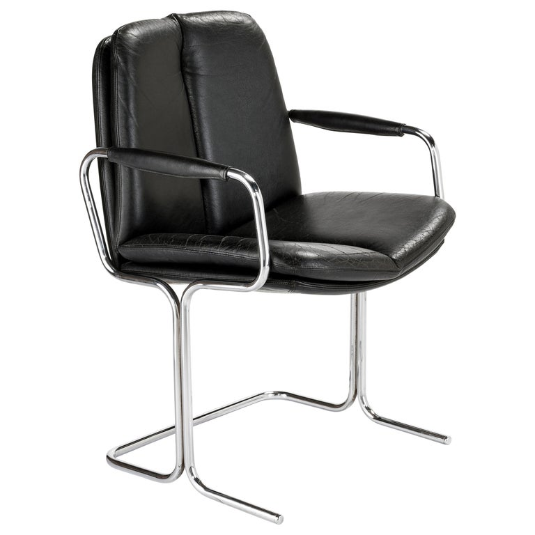 Set of 4 Pieff 'Eleganza' Chrome and Leather Chairs by Tim Bates for Pieff & Co. For Sale