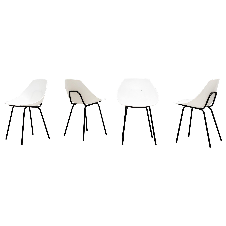 """Set of 4 Pierre Guariche """"Tonneau"""" Chairs"""