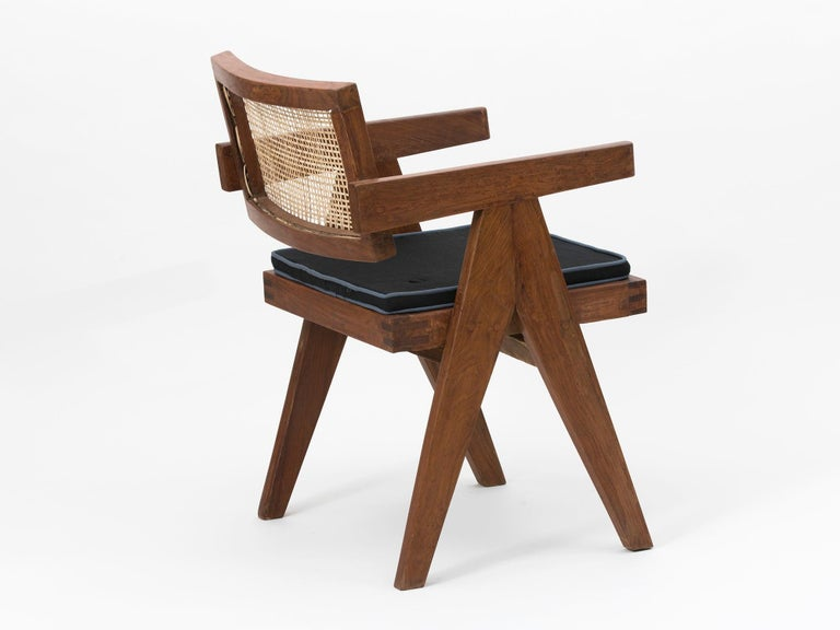 Cane Set of 4 Pierre Jeanneret Floating Back Armchairs For Sale