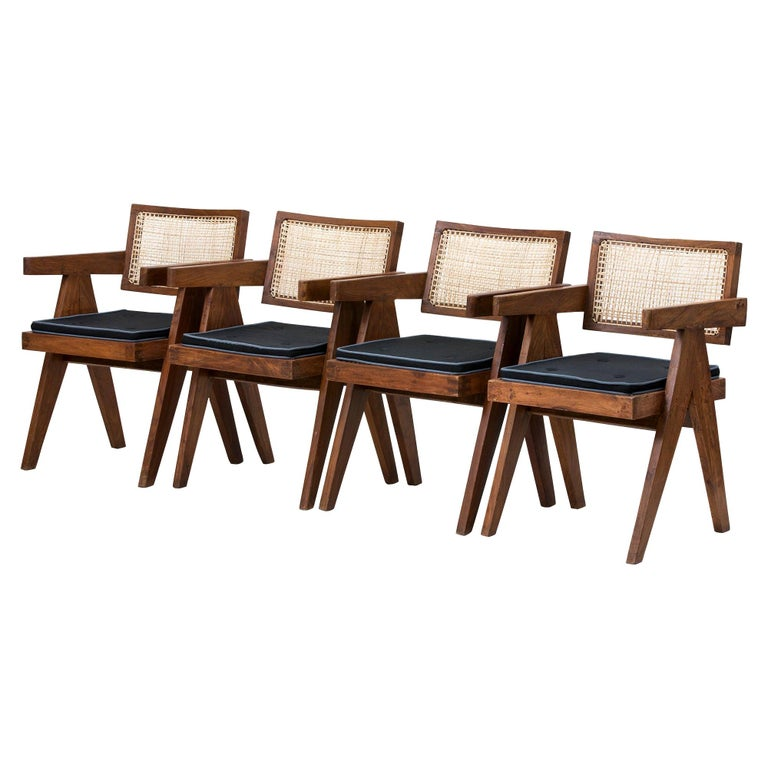 Set of 4 Pierre Jeanneret Floating Back Armchairs For Sale