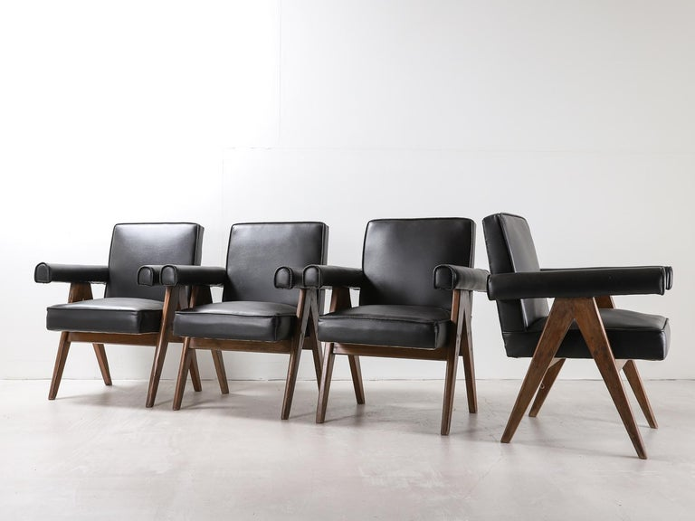 """Set of 4 Pierre Jeanneret """"Office Chair"""", circa 1959-1960 For Sale 3"""
