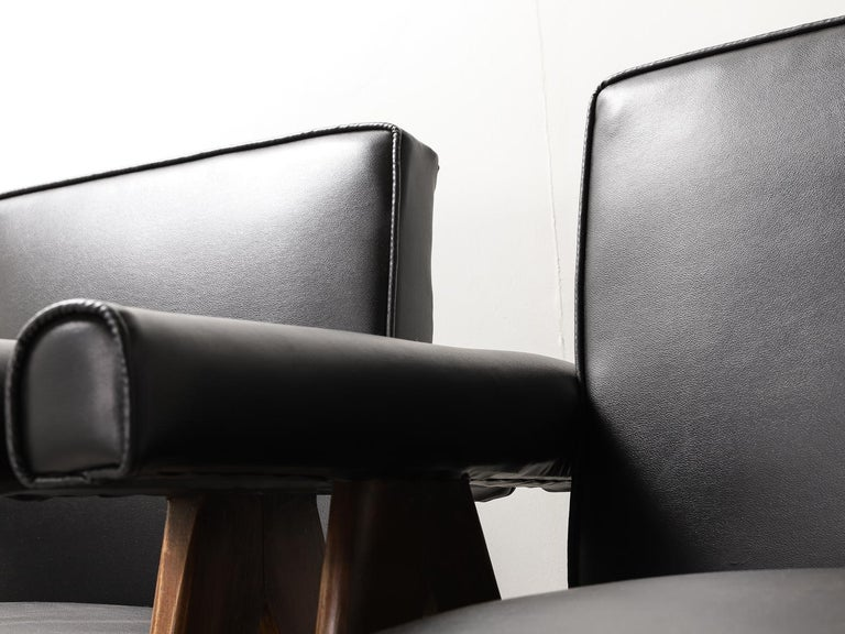 """Set of 4 Pierre Jeanneret """"Office Chair"""", circa 1959-1960 For Sale 7"""