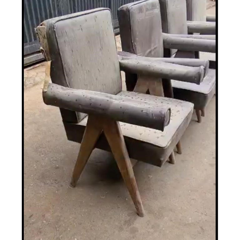"""Set of 4 Pierre Jeanneret """"Office Chair"""", circa 1959-1960 For Sale 12"""