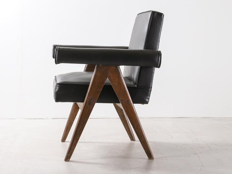 """Mid-Century Modern Set of 4 Pierre Jeanneret """"Office Chair"""", circa 1959-1960 For Sale"""
