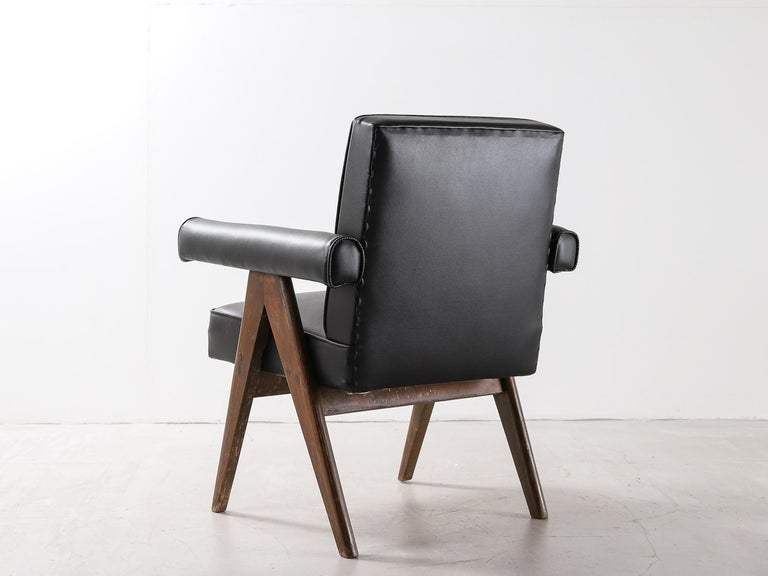 """Set of 4 Pierre Jeanneret """"Office Chair"""", circa 1959-1960 In Good Condition For Sale In London, Greater London"""